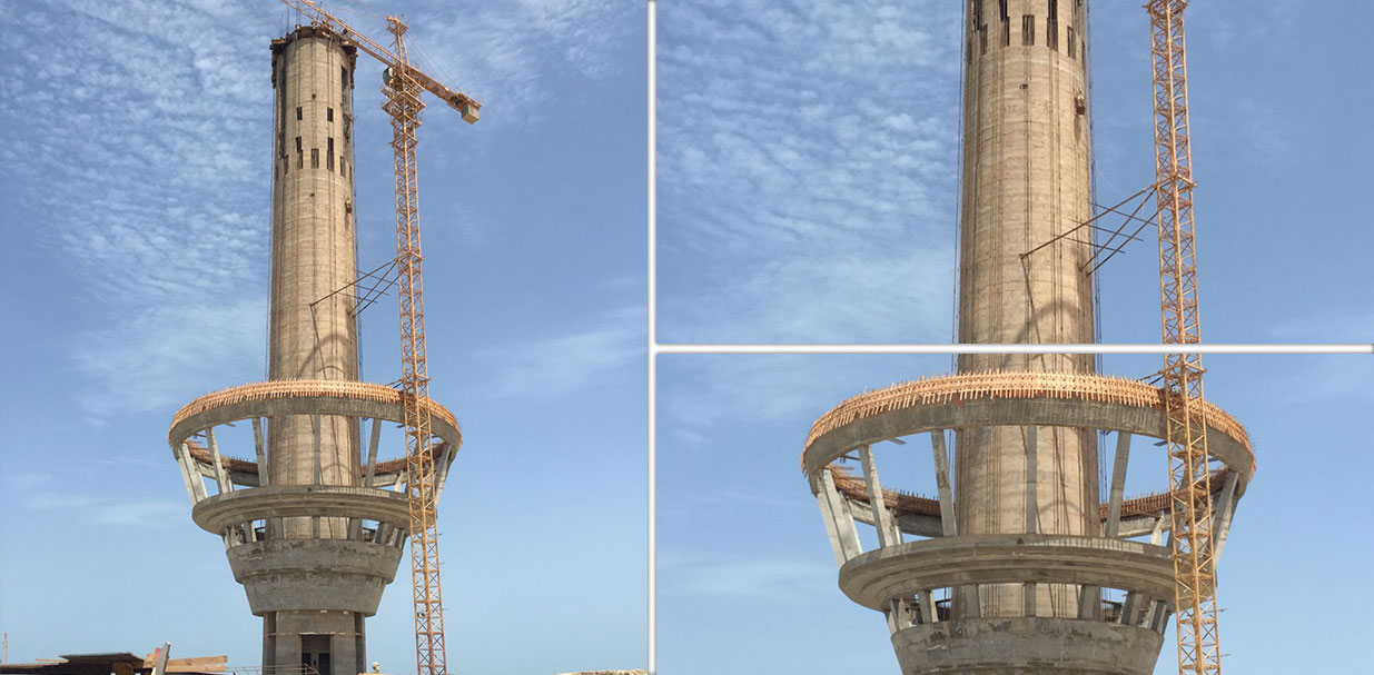 Upper Cone reaches 45 m height for SEAPA - Ras Alkair Port Control Tower